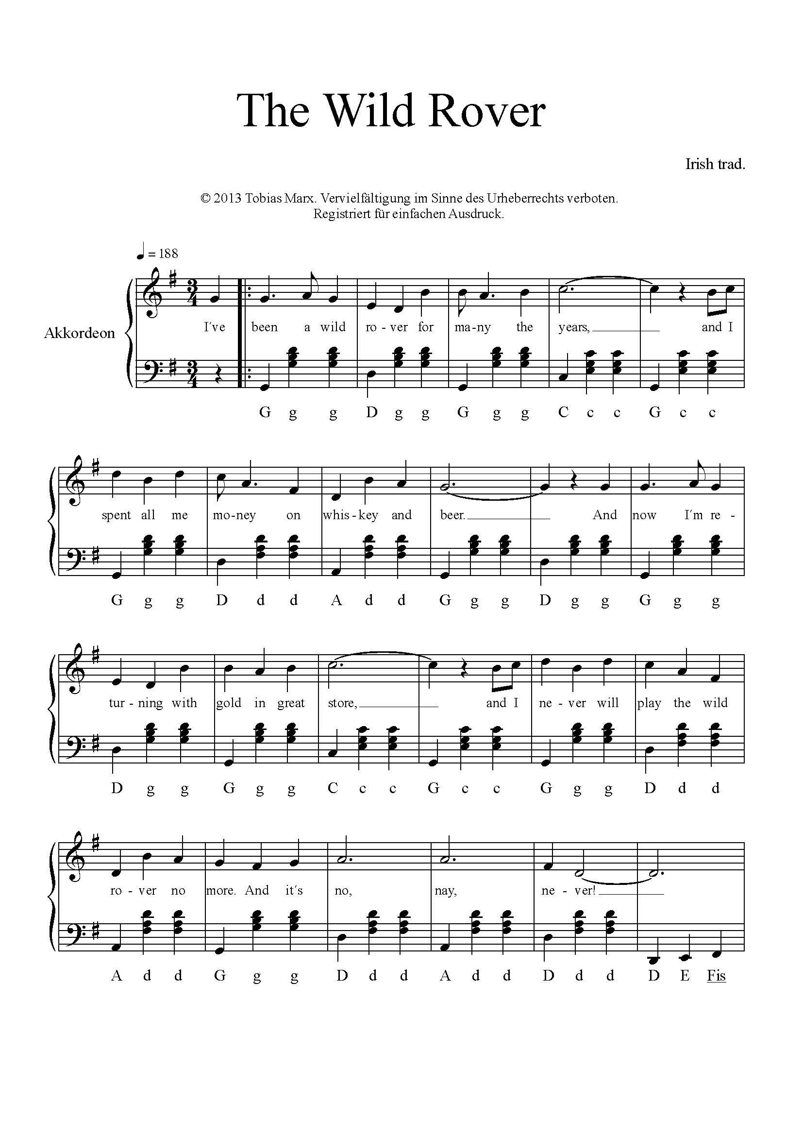 Akkordeon Noten, Akkordeon leicht spielen lernen